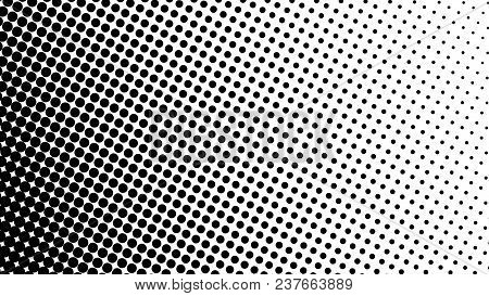 Gradient Halftone Dots Background Diagonal Vector Illustration. Black White Dots Halftone Texture. P