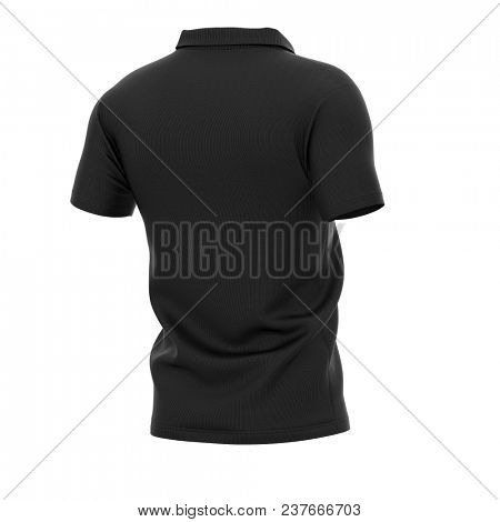 Men's polo shirt with short sleeves. Half-back view. 3d rendering. Clipping paths included: whole object, collar, sleeve.