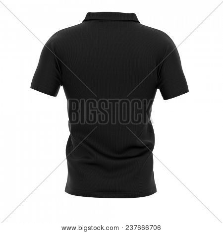 Men's polo shirt with short sleeves. Back view. 3d rendering. Clipping paths included: whole object, collar, sleeve, buttons.