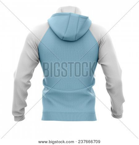 Men's hoodie. Sweatshirt with pocket. Back view. 3d rendering. Clipping paths included: whole object, hood, sleeve, rope tie, pocket. Isolated on white background.
