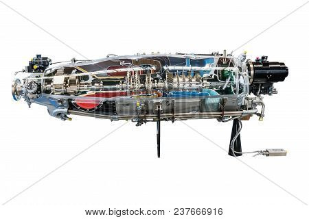 Turbine Engine Profile On White Background. Aviation Technologies. Aircraft Jet Engine Detail In The