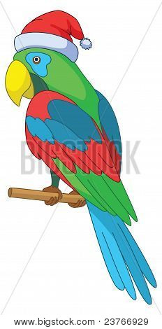 Christmas cartoon: parrot in Santa Claus hat sits on a wooden pole, vector poster