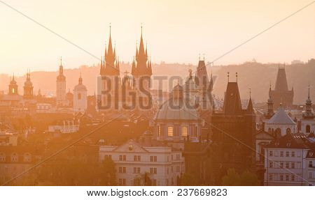 Czech Republic, Prague - Spires Of The Old Town At Dawn.
