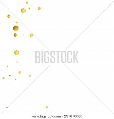Round Gold Confetti. Glitter Vector Celebrate Background. Watercolor Golden Sparkles And Dots. Explo