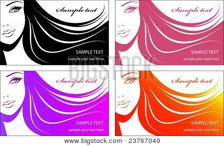 Stylish face of woman.Template design card