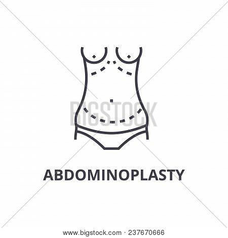 Abdominoplasty Thin Line Icon, Sign, Symbol, Illustation, Linear Concept Vector