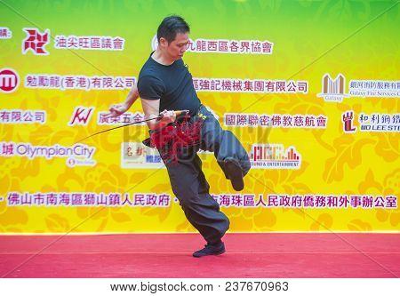 Hong Kong - March 04 : Martial Arts Demonstration During The 14th Tai Kok Tsui Temple Fair In Hong K