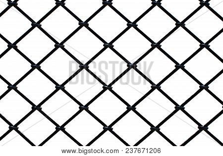 Steel Square Grid On A White Background.