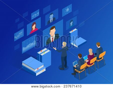 Isometric Training, Online Learning, Webinar, Online Education, Business Training. Flat Vector Illus