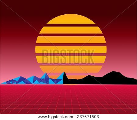 Retro 80s Sun Landscape Futuristic. Sci-fi Background 80s Style. Suitable For Any Print Design In 80