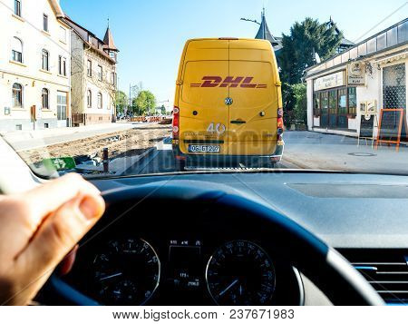 Frankfurt, Germany - Apr 17, 2018: Driver Point Of View On The Road Holding Steering Wheel With Driv