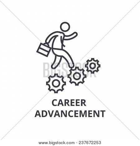 Career Advancement Thin Line Icon, Sign, Symbol, Illustation, Linear Concept Vector