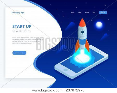 Isometric Start Up Concept. Income And Success. Rocket Flying Out Of Laptop Screen On Blue Backgroun