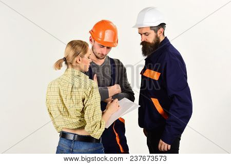Woman amend plan of repair. Supervisor not satisfied with renovation. Misunderstanding concept. Brigade of workers, builders in helmets, repairers, lady arguing, discussing contract, white background. poster