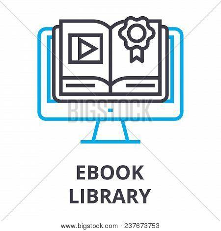 Ebook Library Thin Line Icon, Sign, Symbol, Illustation, Linear Concept Vector