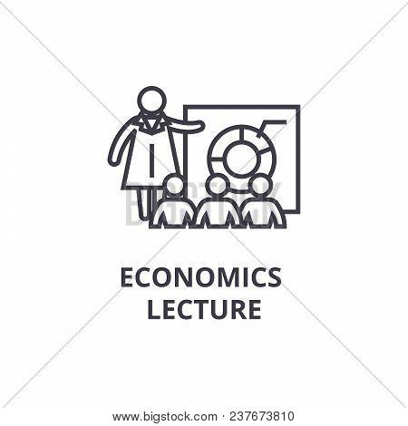 Economics Lecture Thin Line Icon, Sign, Symbol, Illustation, Linear Concept Vector