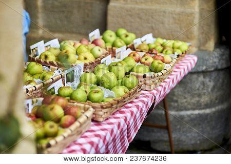 San Sebastian, Spain - September 2, 2017. Ecological Apples In The Market Of Sagardo Eguna (cider Da