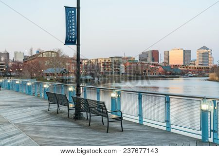 Wilmington, De - April 5, 2018: Wilmington, Delaware Skyline  Along The Christiana River