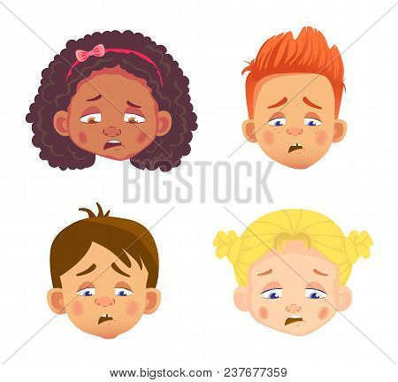 Emotions Of Childs Face. Facial Expression Illustration