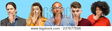Group of mixed people, women and men covers mouth in shock, looks shy, expressing silence and mistake concepts, scared