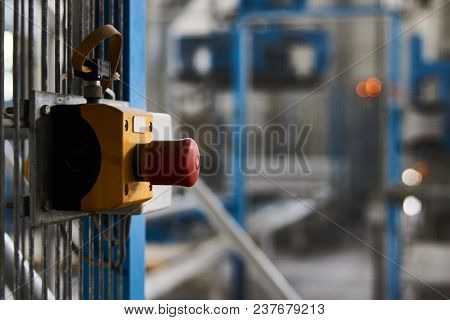 Start Or Stop Button For Industrial Machine, Close-up. Emergency Stop For Safety Concept. Red Emerge