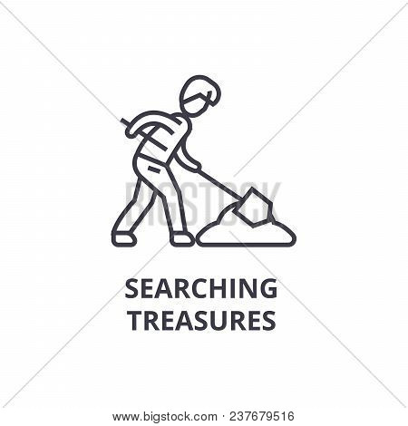 Searching Treasures Thin Line Icon, Sign, Symbol, Illustation, Linear Concept Vector