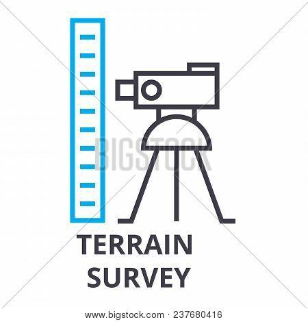 Terrain Survey Thin Line Icon, Sign, Symbol, Illustation, Linear Concept Vector