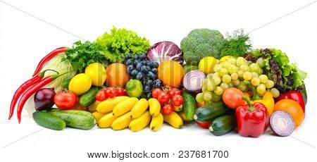 Large assortment useful vegetables and fruits isolated on white background