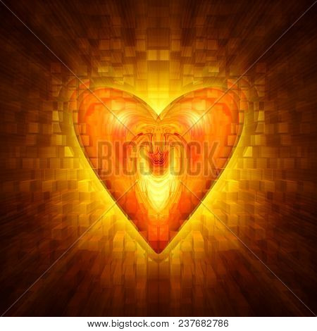 abstract amber heart on a dark background with the effect of luminescence