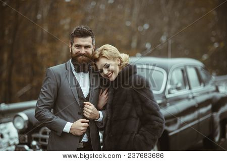 A Retro Wedding Car With Just Married Couple In Love