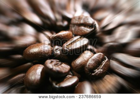 Coffee Beans Close Up With Zoom Burst High Quality Stock Photo