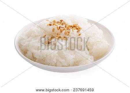 Thai Style Tropical Dessert, Sweet Sticky Rice Eat With Mangoes In Dish.