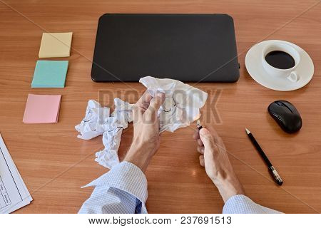 Closeup Of Tired Manager Setting Fire To Waste Paper