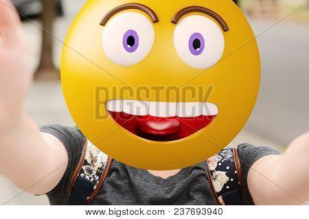 Emoji Head Woman Taking Selfie. Emoji Concept