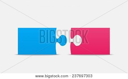 Two Blue Pink Piece Puzzle Infographic Presentation. 2 Step Square Business Diagram. Section Compare