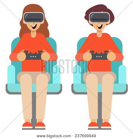 Pop Art Couple Playing Video Game At Home. Girl And Guy With Console Joystick. Vector Illustration.