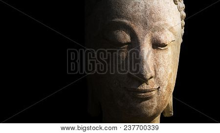 Face Of Statue Buddha Close Up In Chiang Mai Province, Thailand. Statue Of Buddha Made From White St