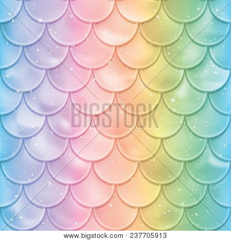 Mermaid Tail Texture In Spectrum Colors Vector Illustration Print Design For Textile Posters Greeting Or Child Birthday Cards Kids Designs Etc