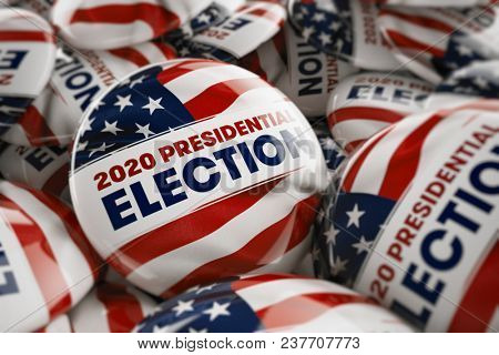 3D illustration of a closeup shot of one presidential election button in focus in between many other buttons in a box. Selective focus with shallow depth of field.