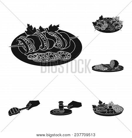 Cooking Food Black Icons In Set Collection For Design. Kitchen, Equipment And Tools Vector Symbol St