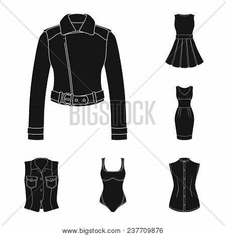 Women Clothing Black Icons In Set Collection For Design.clothing Varieties And Accessories Vector Sy