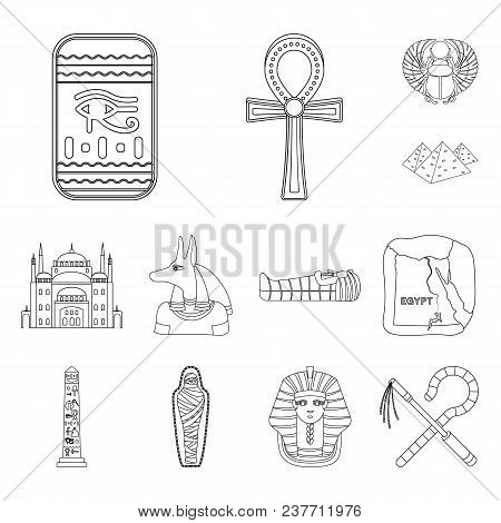 Ancient Egypt Outline Icons In Set Collection For Design. The Reign Of Pharaoh Vector Symbol Stock