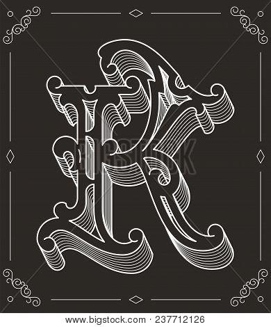 White On Black Vector Illustration Of Capital Letter K