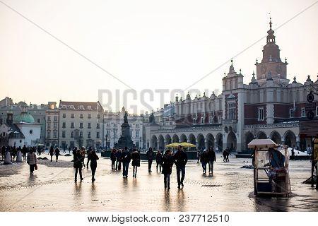 Krakow, Poland - Cisca February, 2014: Architecture Of The Krakow Cloth Hall And Market Square At Du