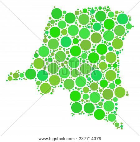 Democratic Republic Of The Congo Map Mosaic Of Scattered Filled Circles In Variable Sizes And Green