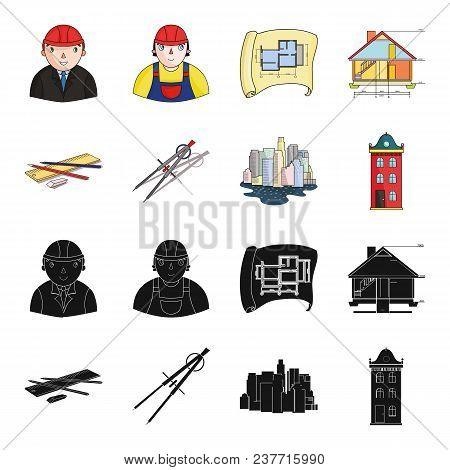 Drawing Accessories, Metropolis, House Model. Architecture Set Collection Icons In Black, Cartoon St