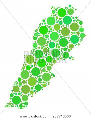 Lebanon Map Composition Of Scattered Filled Circles In Different Sizes And Ecological Green Color Ti