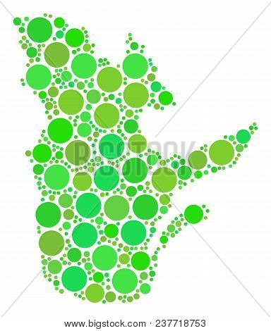 Quebec Province Map Collage Of Scattered Filled Circles In Various Sizes And Ecological Green Color