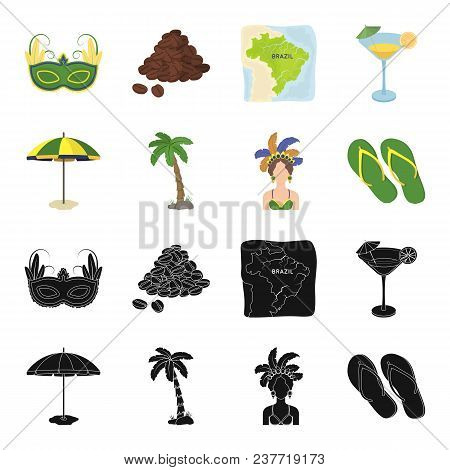 Brazil, Country, Umbrella, Beach . Brazil Country Set Collection Icons In Black, Cartoon Style Vecto