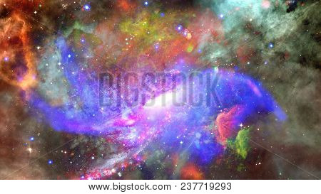Nebula And Galaxy In Space. Elements Of This Image Furnished By Nasa.